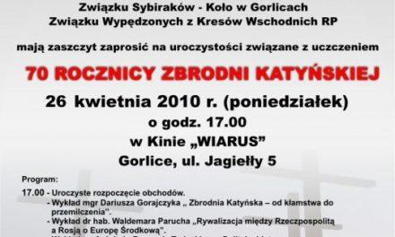 Obchody Katyńskie wGorlicach przesunięte
