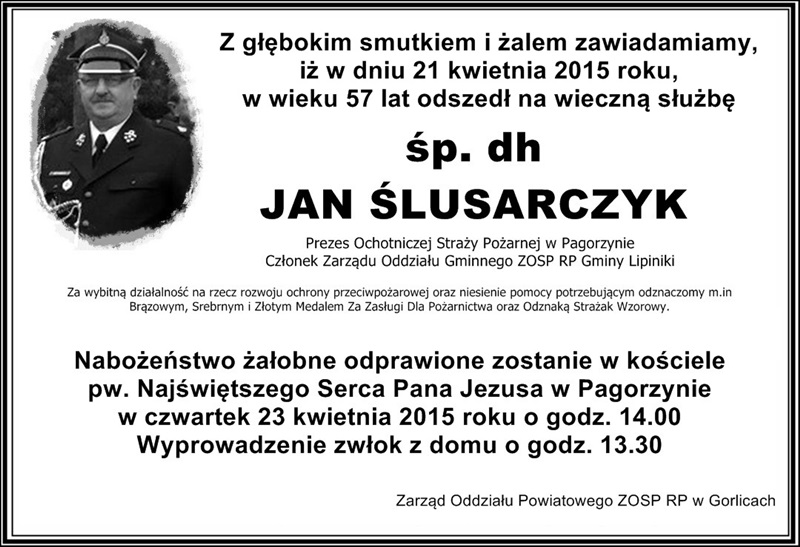Zmarł dh Jan Ślusarczyk zPagorzyny