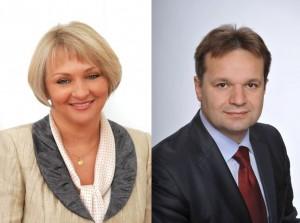 Posęł naSejm RP Barbara Bartuś iRadny Sejmiku WM Paweł Śliwa