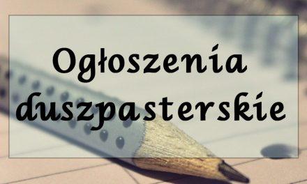 Parafia Lipinki: Ogłoszenia duszpasterskie iintencje mszalne – 24 XI